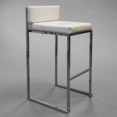 Rental store for Bar Stool - Sq. Back, White Leather in Toronto Ontario