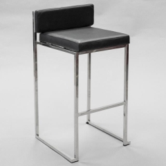 Rental store for Bar Stool - Sq. Back,  Black Leather in Toronto Ontario