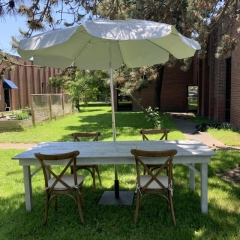 Rental store for Harvest Table with Umbrella and Cross Backed Chairs in Toronto Ontario